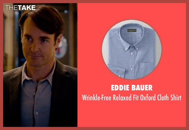 Eddie Bauer blue shirt from She's Funny That Way seen with Will Forte (Joshua Fleet)