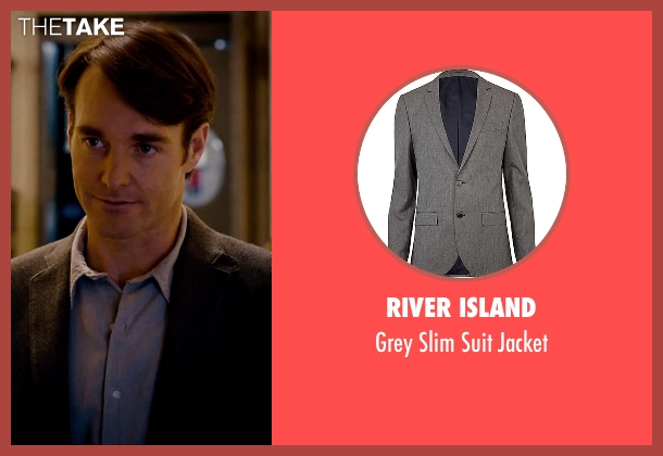 River Island gray jacket from She's Funny That Way seen with Will Forte (Joshua Fleet)