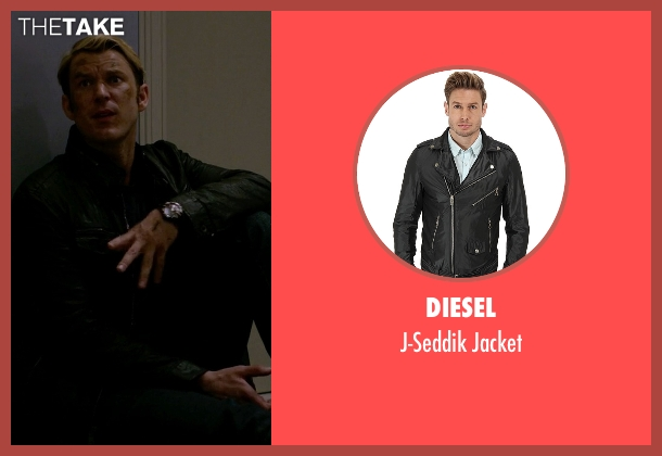 Diesel black jacket from Jessica Jones seen with Will Simpson  (Wil Traval)