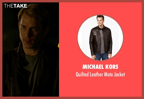 Michael Kors brown jacket from Jessica Jones seen with Will Simpson  (Wil Traval)