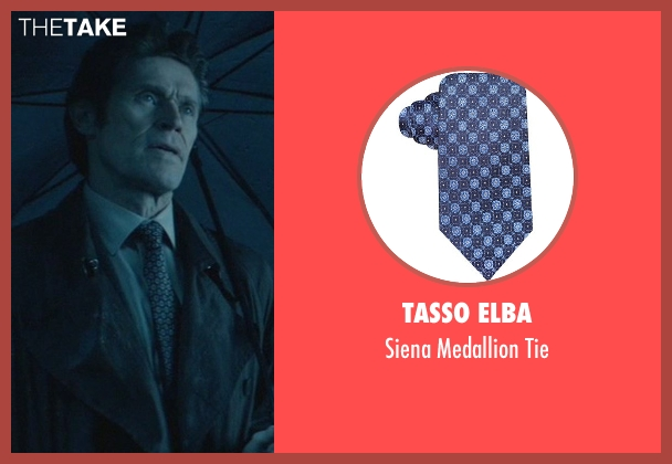 Tasso Elba blue tie from John Wick seen with Willem Dafoe (Marcus)