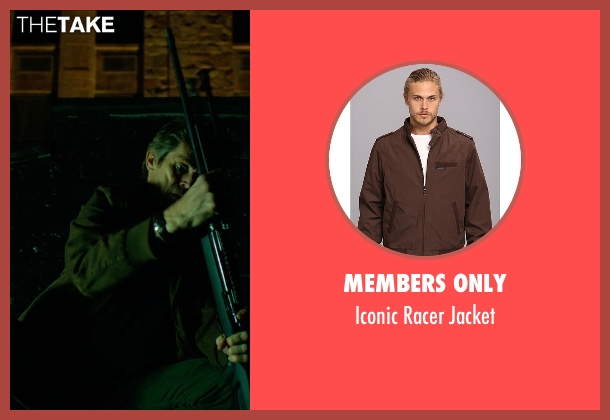Members Only brown jacket from John Wick seen with Willem Dafoe (Marcus)