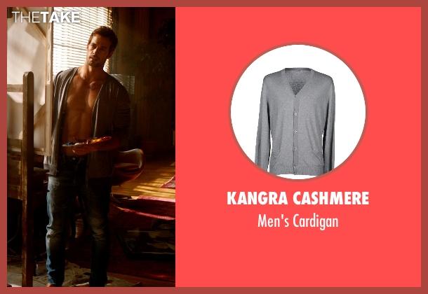 Kangra Cashmere gray cardigan from Addicted seen with William Levy (Quentin Matthews)