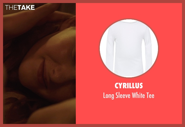 Cyrillus white tee from The Hunger Games: Mockingjay Part 1 seen with Willow Shields (Primrose Everdeen)