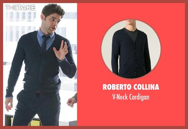 Roberto Collina blue cardigan from Supergirl seen with Winn Schott  (Jeremy Jordan)