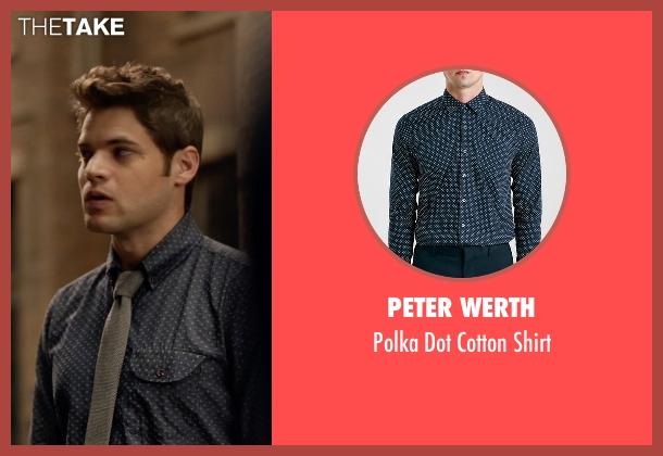 Peter Werth blue shirt from Supergirl seen with Winn Schott  (Jeremy Jordan)