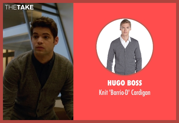 Hugo Boss gray cardigan from Supergirl seen with Winn Schott  (Jeremy Jordan)