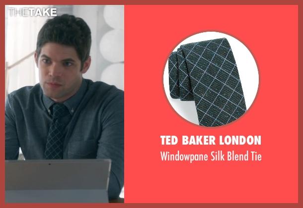Ted Baker London green tie from Supergirl seen with Winn Schott  (Jeremy Jordan)