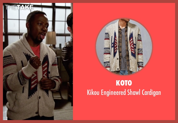 Koto beige cardigan from New Girl seen with Winston Bishop (Lamorne Morris)