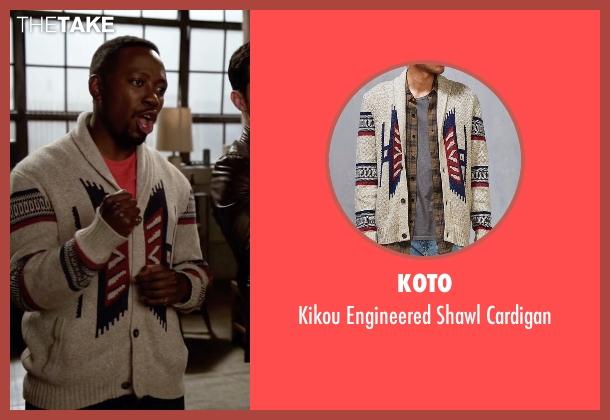 Koto beige cardigan from New Girl seen with Winston Bishop (Lamorne Morris)