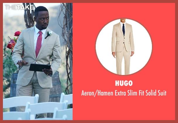 Hugo beige suit from New Girl seen with Winston Bishop (Lamorne Morris)