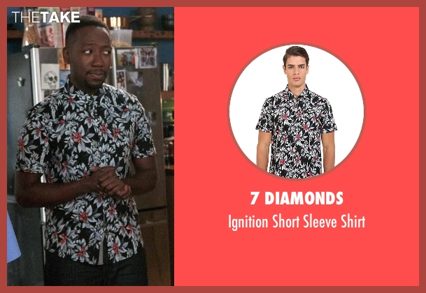 7 Diamonds black shirt from New Girl seen with Winston Bishop (Lamorne Morris)