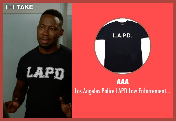 AAA black t-shirt from New Girl seen with Winston Bishop (Lamorne Morris)
