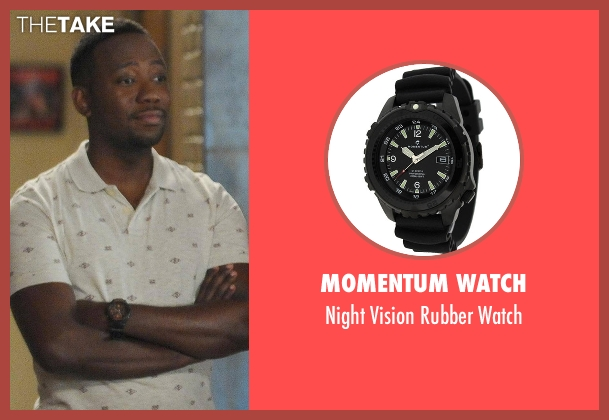 Momentum Watch black watch from New Girl seen with Winston Bishop (Lamorne Morris)