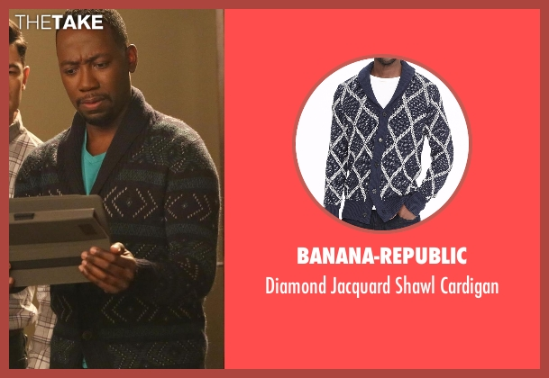 Banana-Republic blue cardigan from New Girl seen with Winston Bishop (Lamorne Morris)