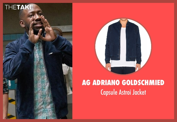 AG Adriano Goldschmied blue jacket from New Girl seen with Winston Bishop (Lamorne Morris)