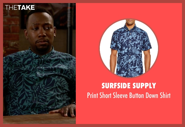 Surfside Supply blue shirt from New Girl seen with Winston Bishop (Lamorne Morris)