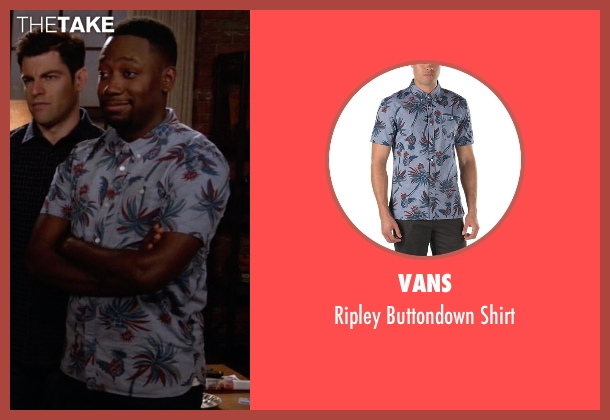 Vans blue shirt from New Girl seen with Winston Bishop (Lamorne Morris)