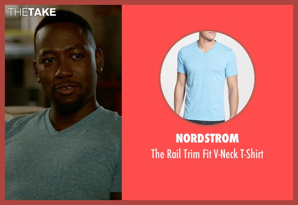 Nordstrom blue t-shirt from New Girl seen with Winston Bishop (Lamorne Morris)