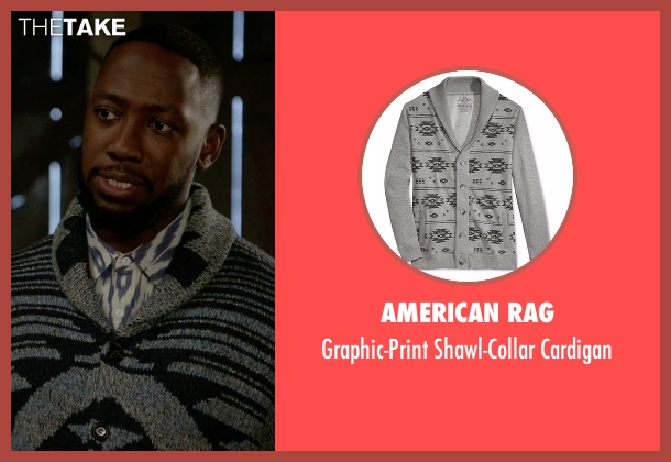 American Rag gray cardigan from New Girl seen with Winston Bishop (Lamorne Morris)