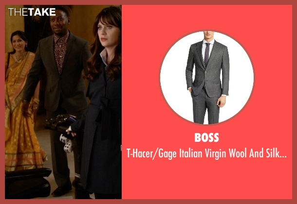 Boss gray suit from New Girl seen with Winston Bishop (Lamorne Morris)