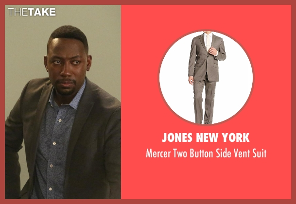 Jones New York gray suit from New Girl seen with Winston Bishop (Lamorne Morris)