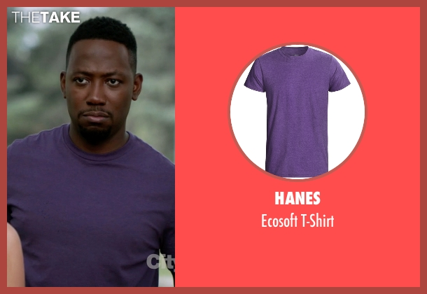 Hanes purple t-shirt from New Girl seen with Winston Bishop (Lamorne Morris)