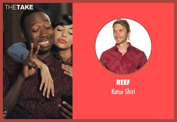 Reef red shirt from New Girl seen with Winston Bishop (Lamorne Morris)