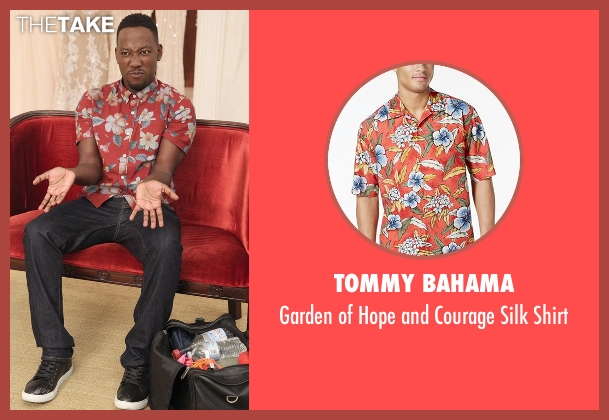 Tommy Bahama red shirt from New Girl seen with Winston Bishop (Lamorne Morris)