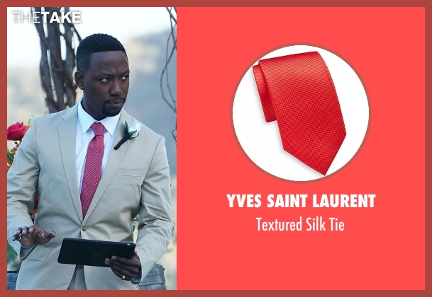 Yves Saint Laurent red tie from New Girl seen with Winston Bishop (Lamorne Morris)