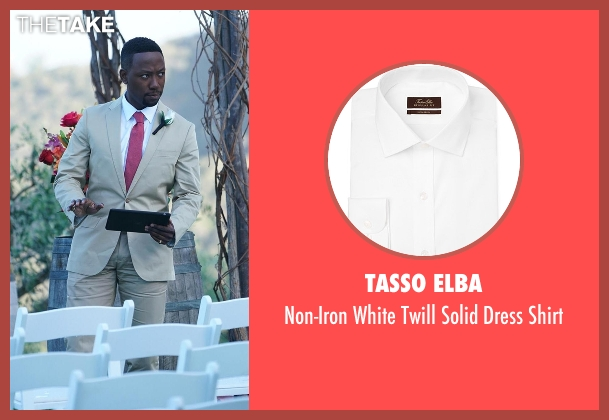 Tasso Elba white shirt from New Girl seen with Winston Bishop (Lamorne Morris)