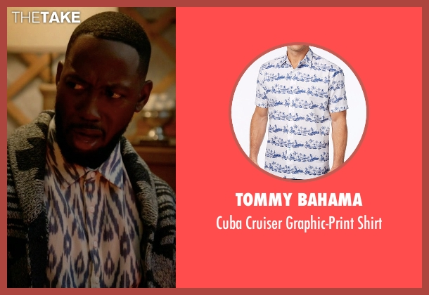 Tommy Bahama white shirt from New Girl seen with Winston Bishop (Lamorne Morris)