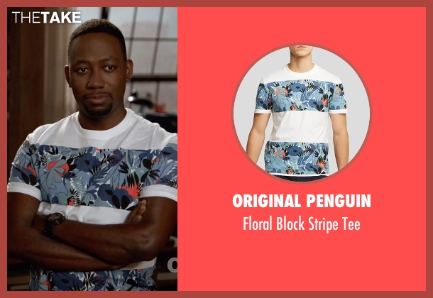 Original Penguin white tee from New Girl seen with Winston Bishop (Lamorne Morris)
