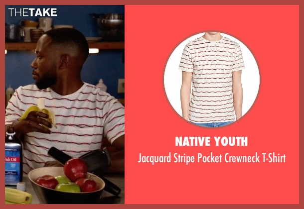 Native Youth white t-shirt from New Girl seen with Winston Bishop (Lamorne Morris)