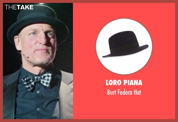 Loro Piana black hat from Now You See Me 2 seen with Woody Harrelson (Merritt McKinney)