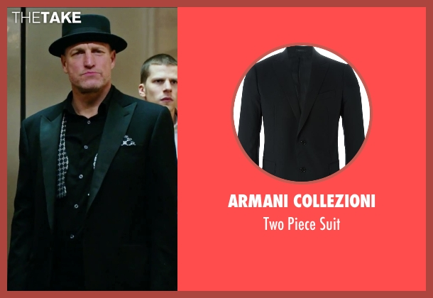 Armani Collezioni black suit from Now You See Me 2 seen with Woody Harrelson (Merritt McKinney)