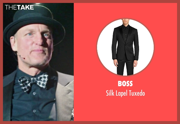 Boss black tuxedo from Now You See Me 2 seen with Woody Harrelson (Merritt McKinney)