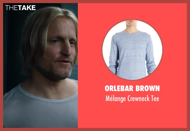 Orlebar Brown blue tee from The Hunger Games: Catching Fire seen with Woody Harrelson (Haymitch Abernathy)