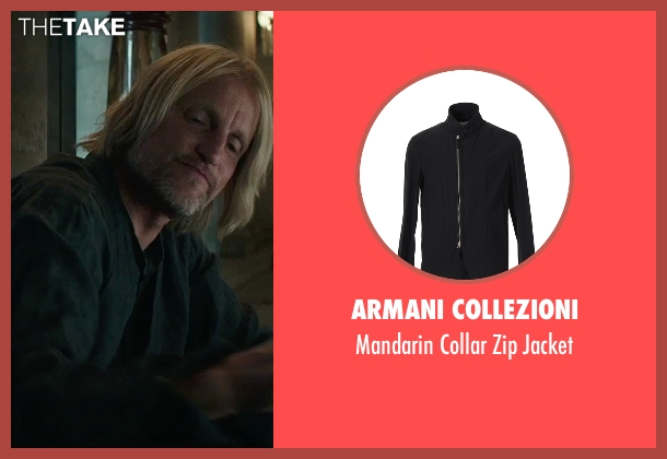 Armani Collezioni black jacket from The Hunger Games: Mockingjay - Part 2 seen with Woody Harrelson (Haymitch Abernathy)