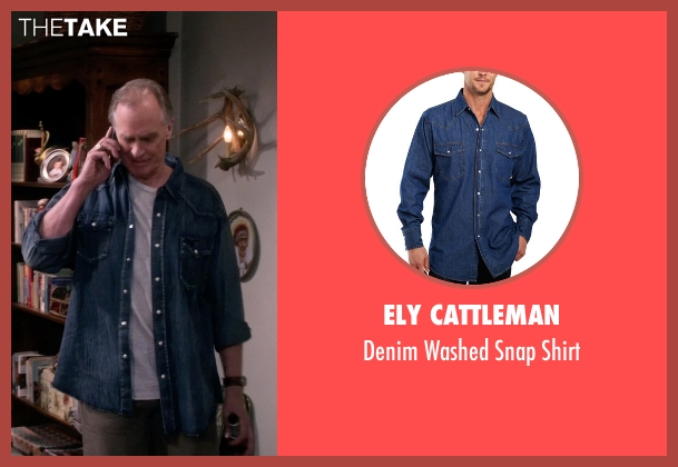 Ely Cattleman blue shirt from The Big Bang Theory seen with Wyatt (Keith Carradine)