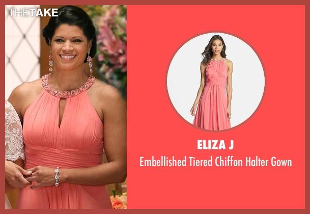 Eliza J pink gown from Jane the Virgin seen with Xiomara Villanueva (Andrea Navedo)