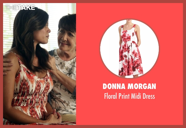 Donna Morgan red dress from Jane the Virgin seen with Xiomara Villanueva (Andrea Navedo)