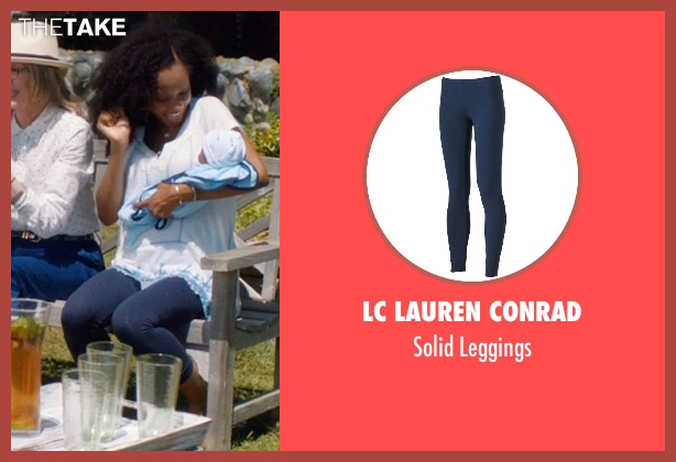 LC Lauren Conrad blue leggings from And So It Goes seen with Yaya DaCosta (Kennedy)
