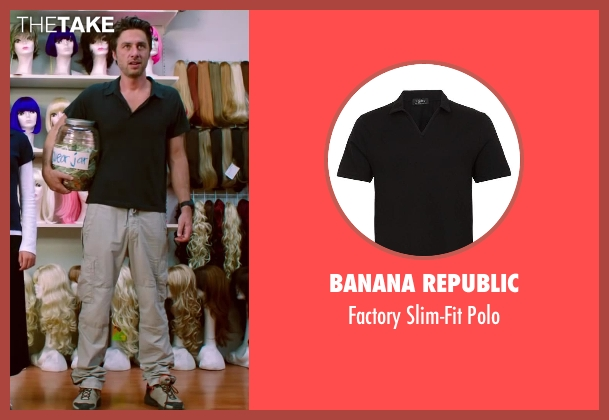 Banana Republic black polo from Wish I Was Here seen with Zach Braff (Aidan Bloom)