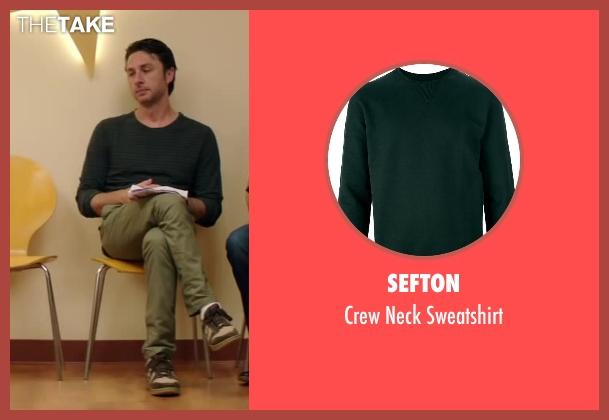 Sefton green sweatshirt from Wish I Was Here seen with Zach Braff (Aidan Bloom)