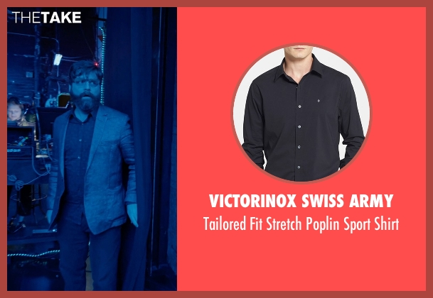 Victorinox Swiss Army black shirt from Birdman seen with Zach Galifianakis (Jake)