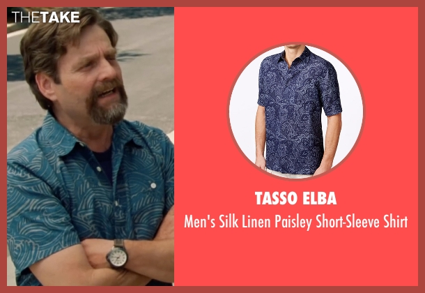 Tasso Elba blue shirt from Keeping Up with the Joneses seen with Zach Galifianakis (Jeff Gaffney)