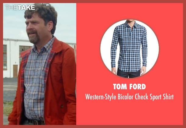 Tom Ford blue shirt from Keeping Up with the Joneses seen with Zach Galifianakis (Jeff Gaffney)