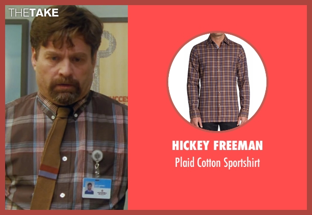 Hickey Freeman brown sportshirt from Keeping Up with the Joneses seen with Zach Galifianakis (Jeff Gaffney)