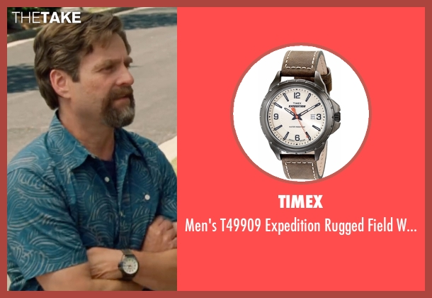 Timex  brown watch from Keeping Up with the Joneses seen with Zach Galifianakis (Jeff Gaffney)